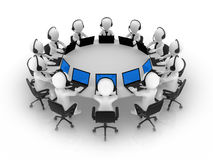 3d business people sit at a round table. Support team Royalty Free Stock Photography