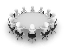 3d business people sit at a round table. Teamwork concept Stock Photos