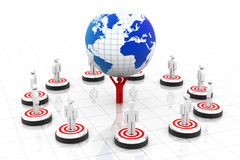 3d business people on target around the world,. Leader holdings globe Royalty Free Stock Photography