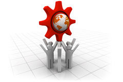 3d business people team with globe Royalty Free Stock Photo