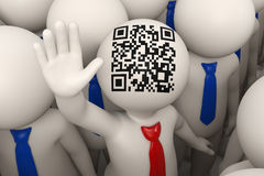 3d business people waving - QR code. 3d rendered business people and one of them with a red tie and matrix barcode aka QR code on his head, waving Royalty Free Stock Image