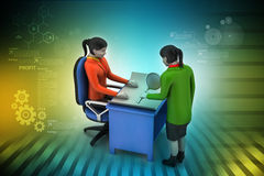 3d business people working. In color background Stock Photo