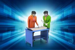 3d business people working. In color background Stock Images