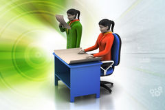 3d business people working. In color background Royalty Free Stock Image