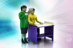 3d business people working. In color background Stock Photos