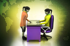 3d business people working. In color background Stock Image
