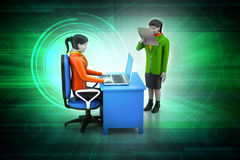 3d business people working the laptop. In color background Royalty Free Stock Image