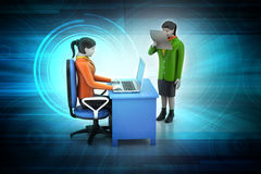 3d business people working the laptop. In color background Stock Photos