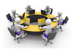 3d business people Working. Together At Desk In Office. Round table; conference Royalty Free Stock Image
