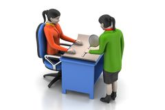 3d business people working. In white background Stock Images