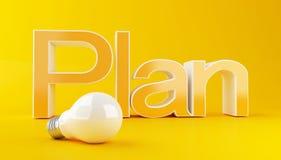3d Business plan text witht Lightbulb. 3d illustration. Business plan text witht Lightbulb on yellow background. Success concept Stock Photo