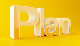 3d Business plan text on yellow background. 3d illustration. Business plan text on yellow background. Success concept Royalty Free Stock Image