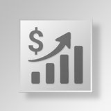 3D Business progress icon Business Concept. 3D Symbol Gray Square Business progress icon Business Concept Royalty Free Stock Image
