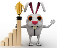 3d business rabbit with award in hand and with growth graph concept Royalty Free Stock Images