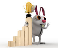 3d business rabbit with award in hand and with growth graph concept Stock Image