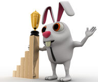 3d business rabbit with award in hand and with growth graph concept Stock Photography