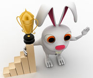 3d business rabbit with award in hand and with growth graph concept Stock Images