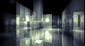 3d business room, Hall  building with light and reflects. modern Stock Photography