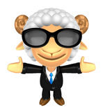 3D Business Sheep mascot has been welcomed with both hands. 3D A Stock Photos