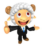 3D Business Sheep mascot the left hand guides and the right hand Royalty Free Stock Photo