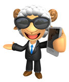 3D Business Sheep Mascot the left hand guides and the right hand Royalty Free Stock Photography