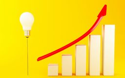 3d Business success  graph with red arrow. 3d illustration. Light bulb and Business graph with red arrow on yellow background. Business success concept Stock Photos
