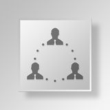 3D business team icon Business Concept. 3D Symbol Gray Square business team icon Business Concept Royalty Free Stock Photography