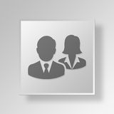 3D business team icon Business Concept. 3D Symbol Gray Square business team icon Business Concept Royalty Free Stock Photo