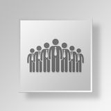 3D business team icon Business Concept. 3D Symbol Gray Square business team icon Business Concept Royalty Free Stock Images