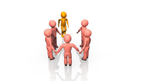 3D business team standing in a circle. Against a white background stock footage