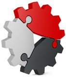 3d business  teamwork, partnership and success concept  gear from puzzle pieces. On white background Royalty Free Stock Photos