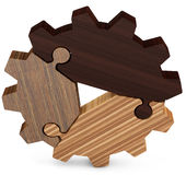 3d business  teamwork, partnership and success concept  gear from puzzle pieces. 3d business  teamwork, partnership and success concept  wood gear from puzzle Stock Photo