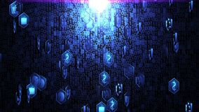 3D Business and Technology Icons Spinning in Hexagon Border and Hovering on The Random Binary Code Background with Blue Lighting