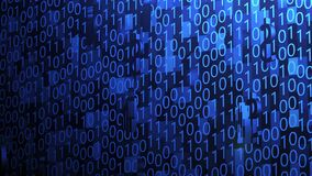 3D Business and Technology Icons Spinning and Hovering on Random Binary Code Background with Blue Lighting Camera Panning