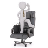 3d business toon stood on chair looking around Stock Images