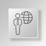 3D business travel icon Business Concept. 3D Symbol Gray Square business travel icon Business Concept Royalty Free Stock Photography