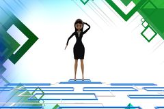 3d character looking down at  blue flow chart diagram illstration Stock Image