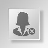 3D Business Woman Cancel icon Business Concept. 3D Symbol Gray Square Business Woman Cancel icon Business Concept Stock Image