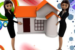 3d  women character carrying home illustration Royalty Free Stock Photo
