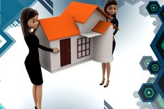 3d business woman carry home illstration Royalty Free Stock Photography
