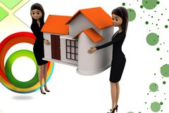 3d  women character carrying home illustration Stock Images