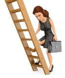 3D Business woman climbing up a broken ladder Vector Illustration