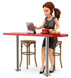 3D Business woman having breakfast before going to work. 3d business people illustration. Businesswoman having breakfast before going to work. White background Royalty Free Stock Images