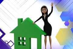 3d  character representing home icon illustration Royalty Free Stock Photos