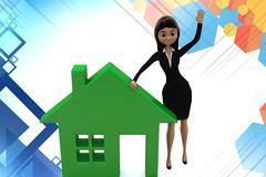 3d  women character presenting home icon illustration Stock Images