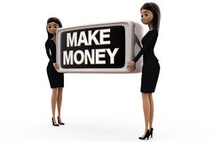 3d business woman make money concept Royalty Free Stock Photography