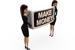 3d business woman make money concept Royalty Free Stock Image