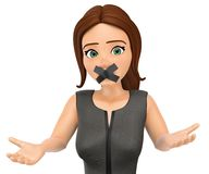 3D Business woman with mouth covered by crossed tape Stock Images