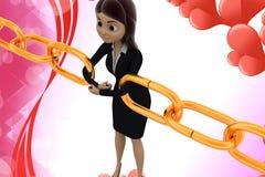 3d  character bonding chain togheter illustration Stock Image