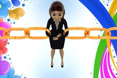 3d character bonding together chain illustration Royalty Free Stock Images